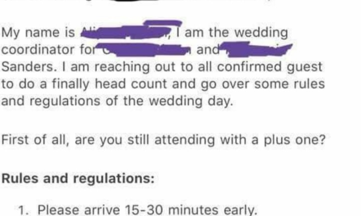 'Do not talk to the bride': Wedding planner's email of absurd 'regulations'