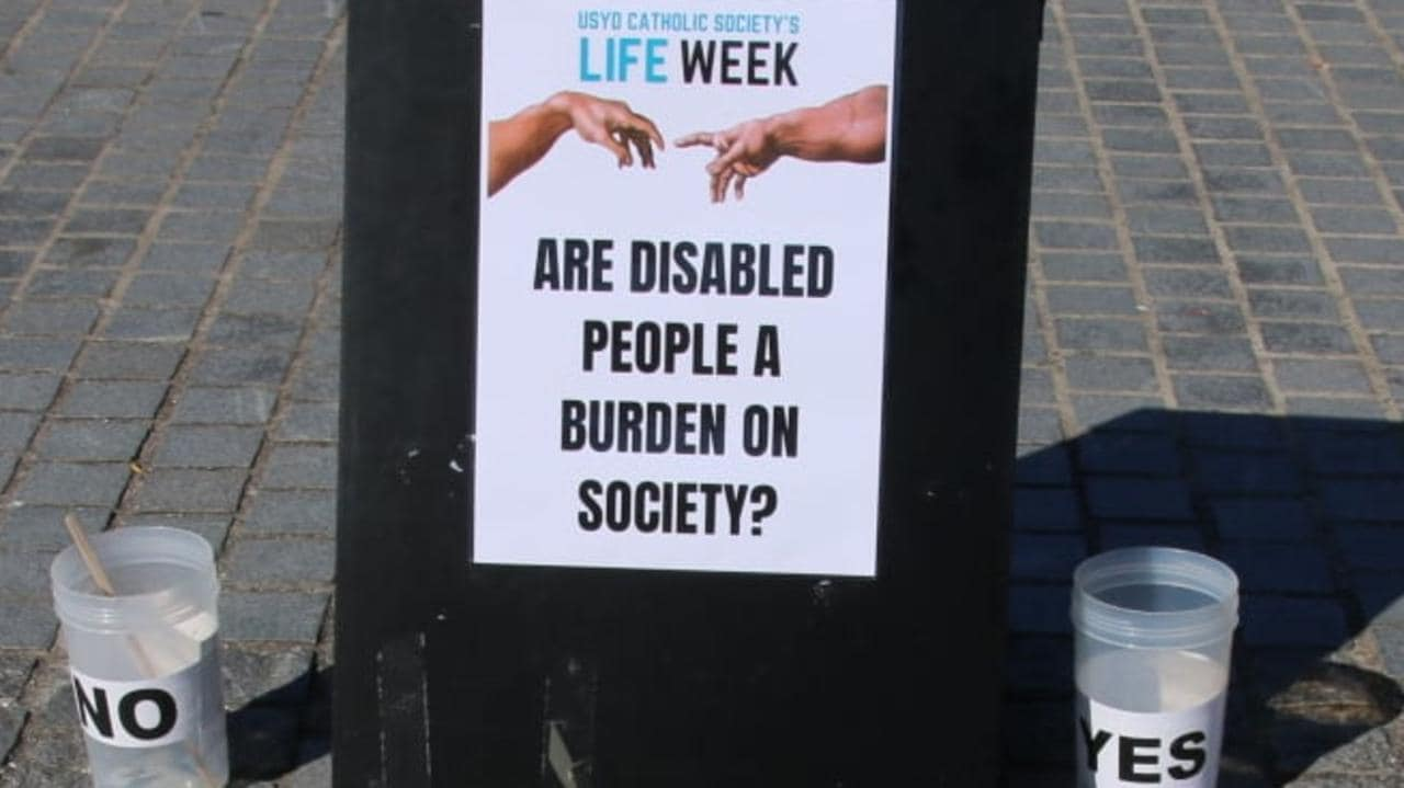 Catholic group under fire for asking if disabled people are a 'burden on society' at University of Sydney