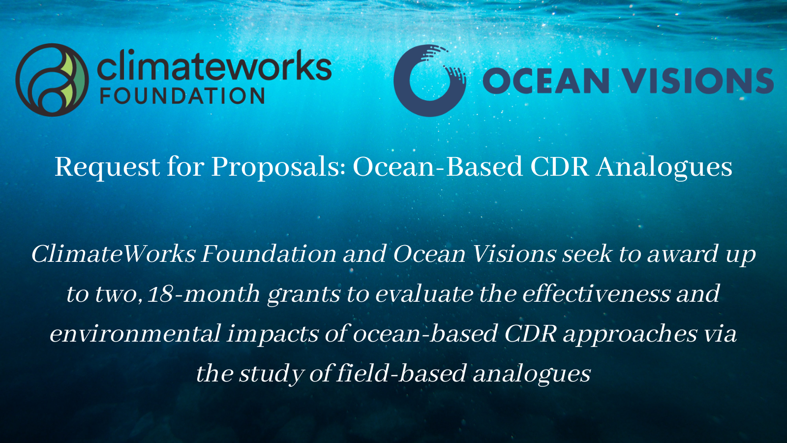 Request for Proposals: Ocean-Based Carbon Dioxide Removal Analogues
