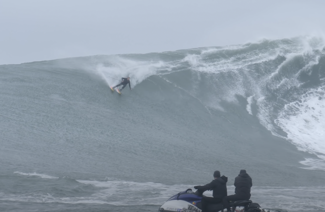 Here's a Guy Skiing Down a Wave Mountain at Mavericks