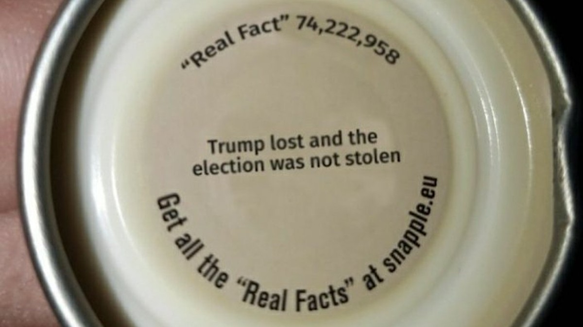 That Election Fraud Snapple Cap Picture You Keep Sharing Isn't Real
