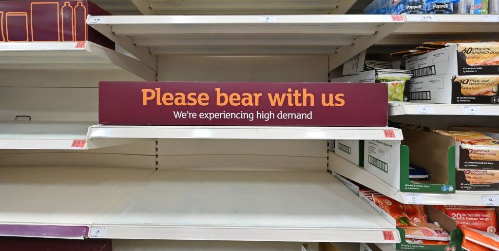 Supermarket Shelves Are Empty Thanks To Workers Being Forced To Self-Isolate