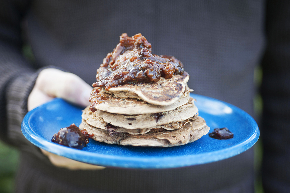 Chocolate Oatmeal Pancakes with Apricot and Fig Compote