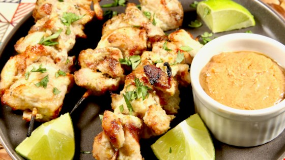 Lime-Ginger Chicken Kabobs with Peanut Sauce Recipe