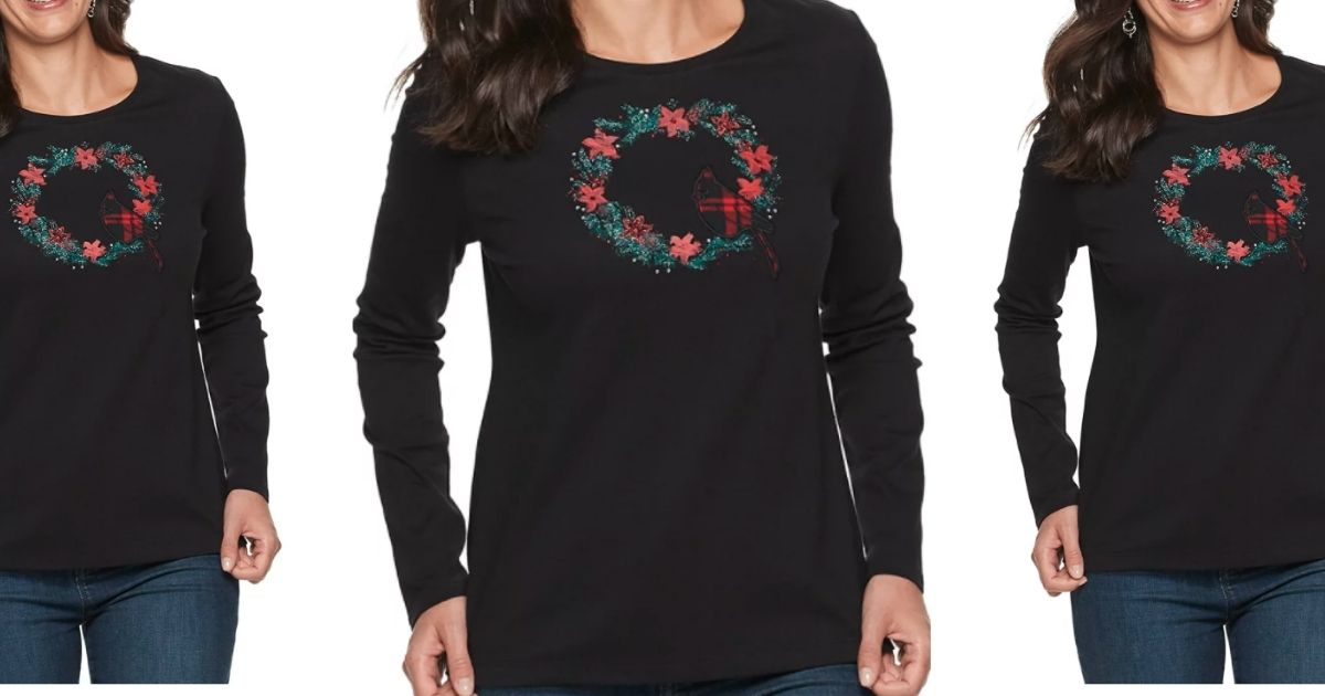 Croft & Barrow Women's Long-Sleeve Holiday Tees Only $3.99 on Kohl's.com (Regularly $26)