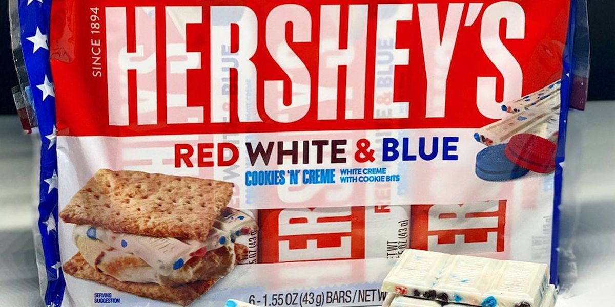 Hershey's Red, White & Blue Cookies 'N' Creme Bar Will Make The Most Patriotic S'mores