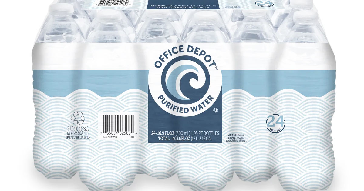 Office Depot Purified Water Bottles 24-Pack Only $1.99 w/ Free Store Pickup (Regularly $8)