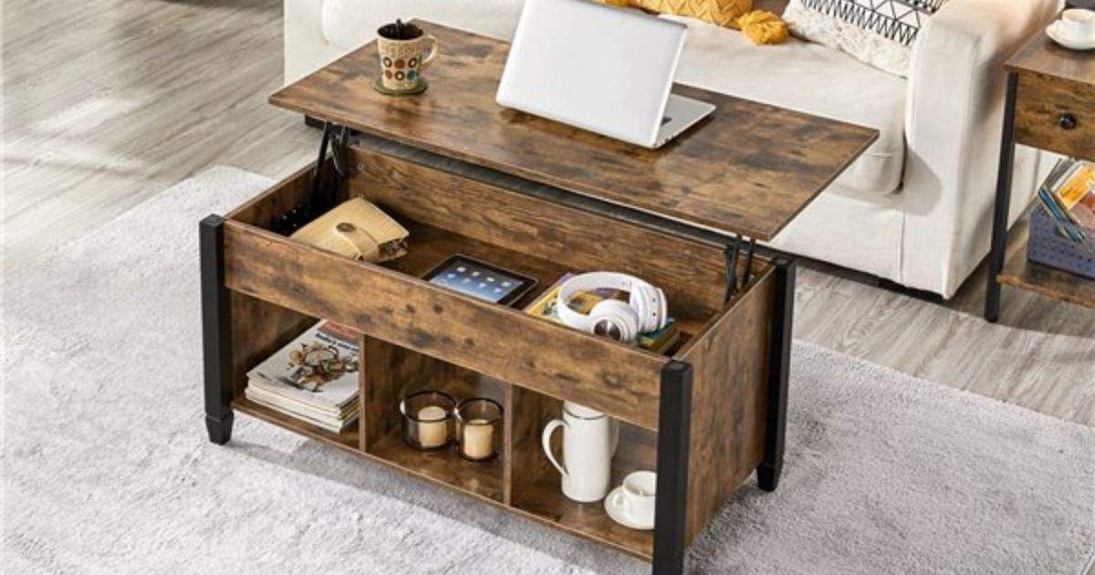 Wooden Lift Top Coffee Table w/ Storage Shelves Only $109.99 Shipped on Walmart.com