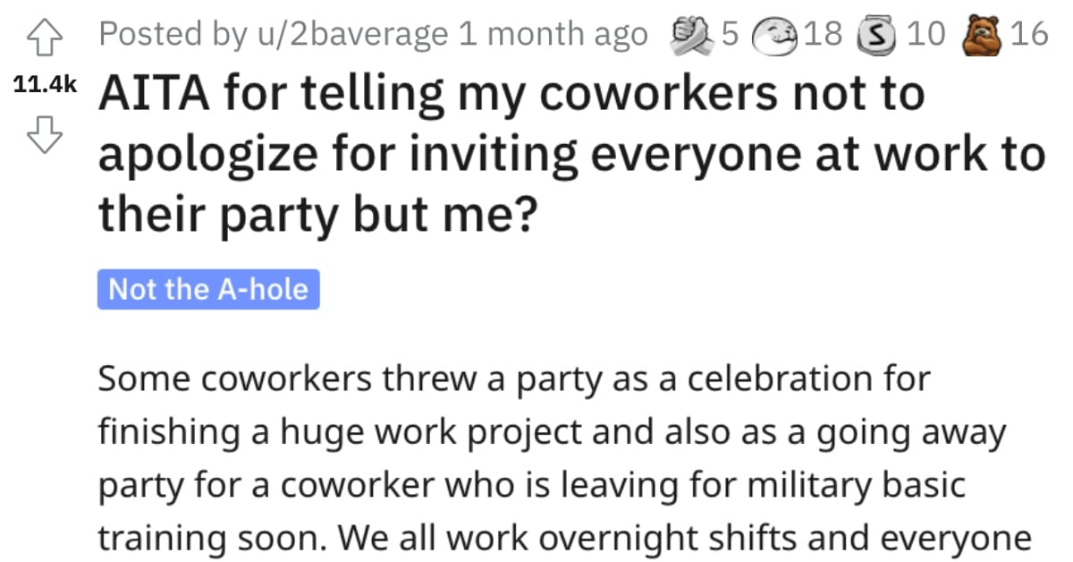 This Person Didn't Get Invited to a Work Party and Drama Ensued