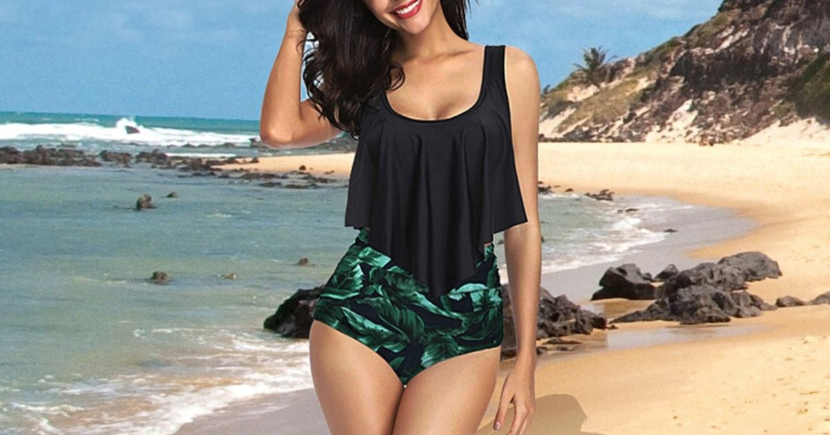 High-Waisted Ruffle Swimsuits from $15.59 Shipped on Amazon