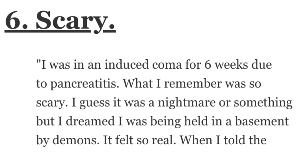 If You've Been in a Coma, What Was It Like? People Shared Their Stories.