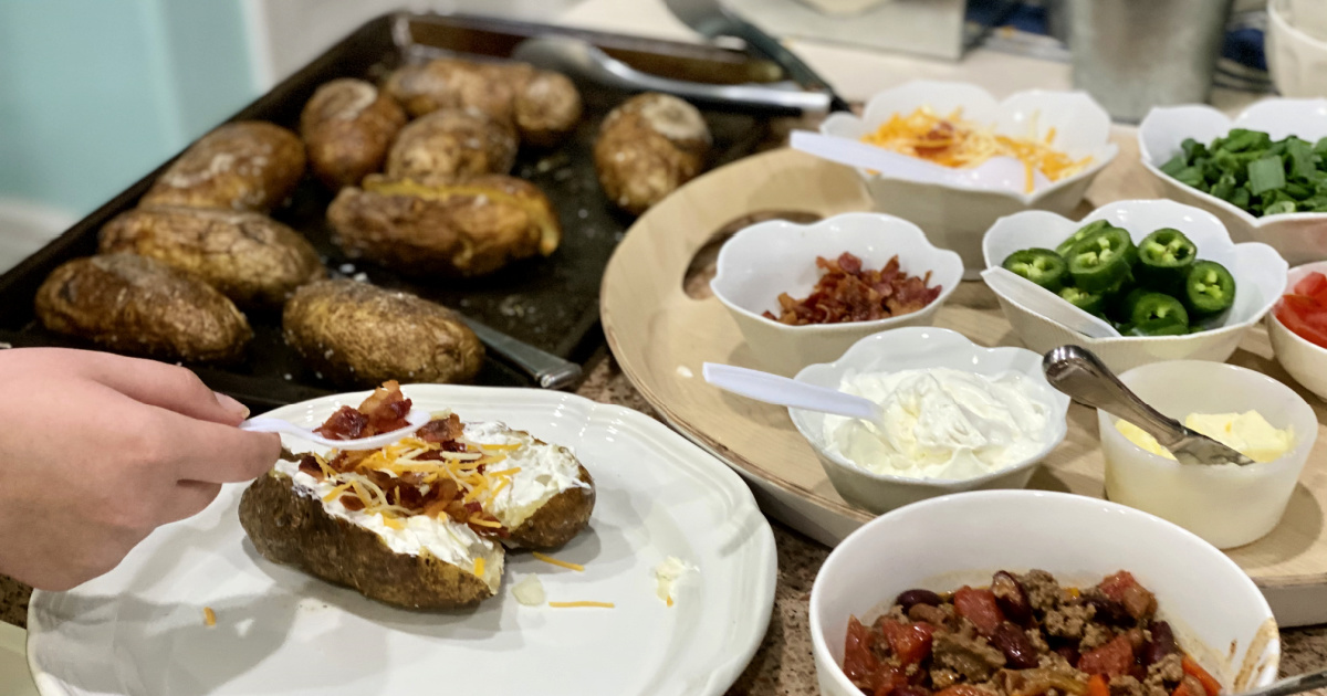 Easy Baked Potato Bar Idea for Large Crowd or Party