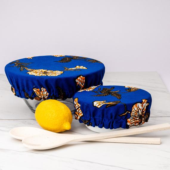 Reusable and washable bowl covers in Wax tissus cotton