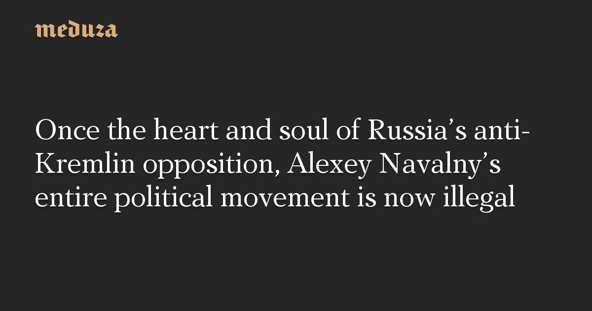 Once the heart and soul of Russia's anti-Kremlin opposition, Alexey Navalny's entire political movement is now illegal