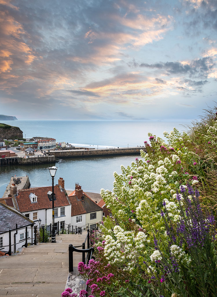 Whitby Steps at Sunset, Yorkshire, England
