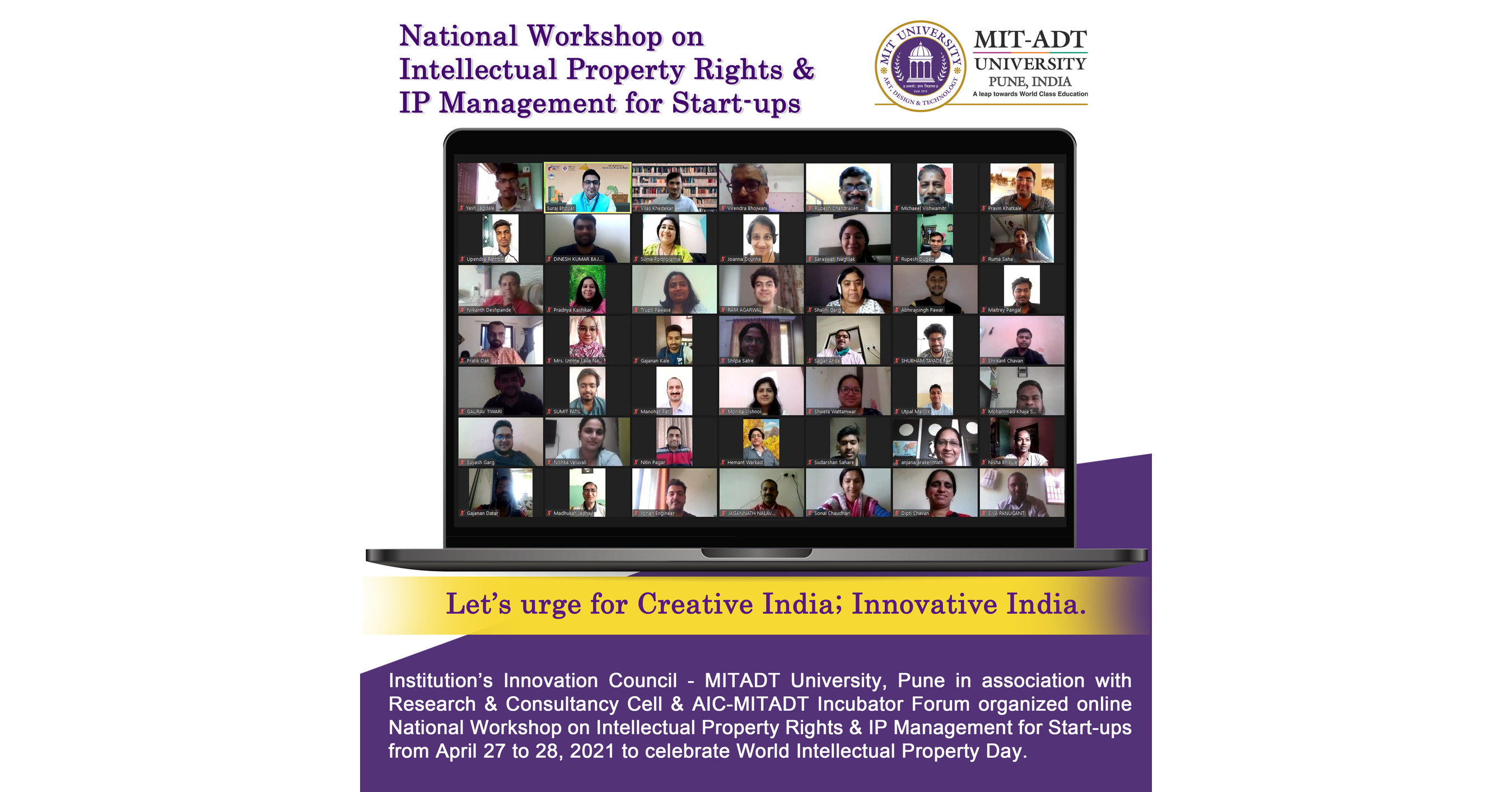 MIT-ADT University pledge to spearhead IP & Entrepreneurship movement on World Intellectual Property Day