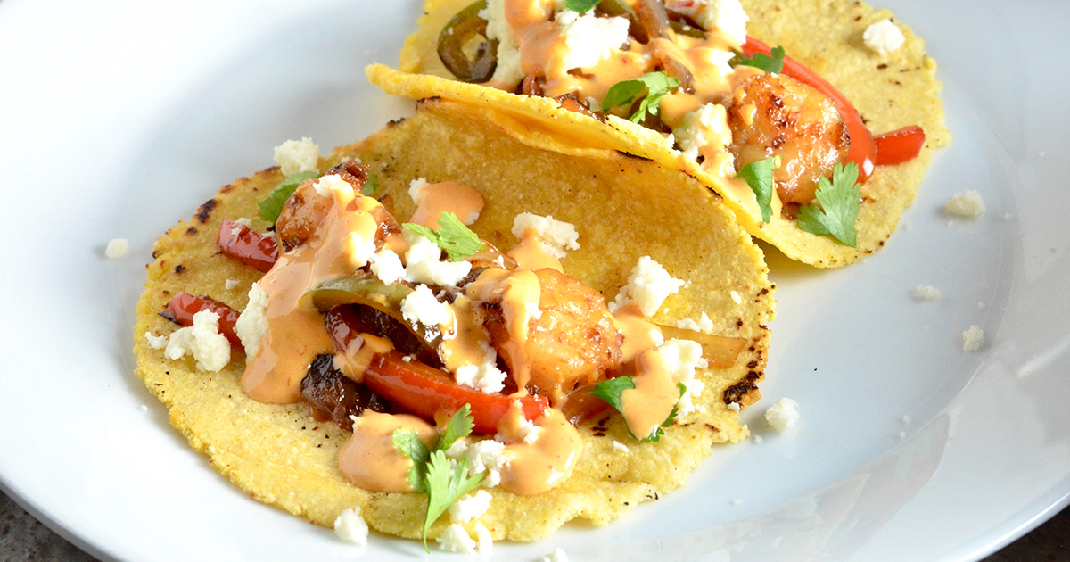 Easy Shrimp Tacos (with Lime Chipotle Mayo)