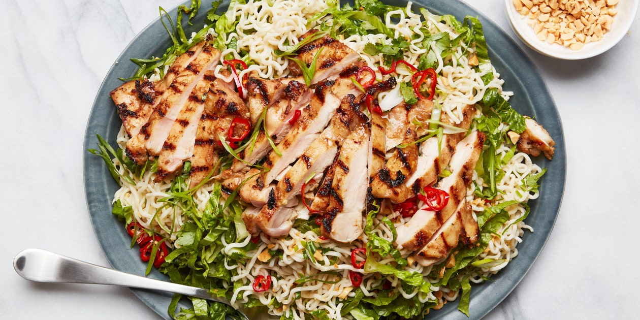 Garlicky Instant Ramen Noodle Salad With Grilled Chicken Thighs