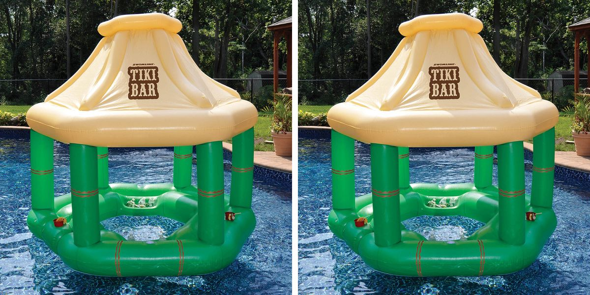 You Can Get a Floating Tiki Bar To Turn Your Pool Into The Perfect Party This Summer