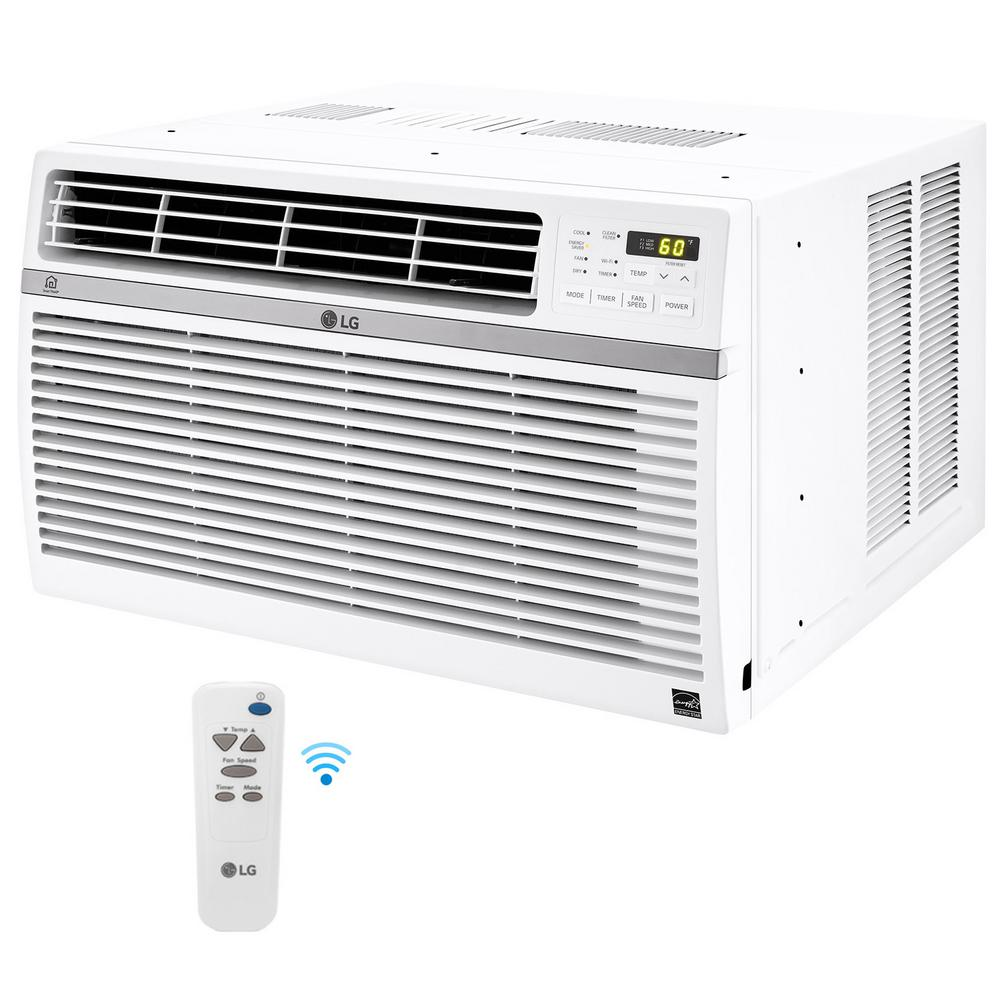 LG Electronics 8,000 BTU Window Smart (Wi-Fi) Air Conditioner with Remote, ENERGY STAR in White-LW8017ERSM