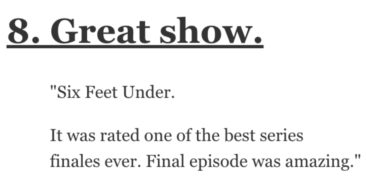 What TV Show Had the Perfect Ending? Let's See What People Had to Say.