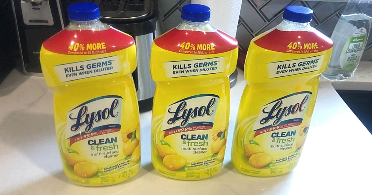 3 Lysol Multi-Surface Cleaner 40oz Bottles Only $7.41 on Amazon