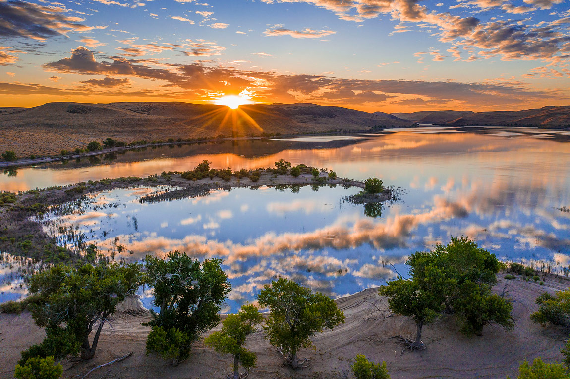 First Light on Lake Lahontan, Nevada, USA by Chip Carroon