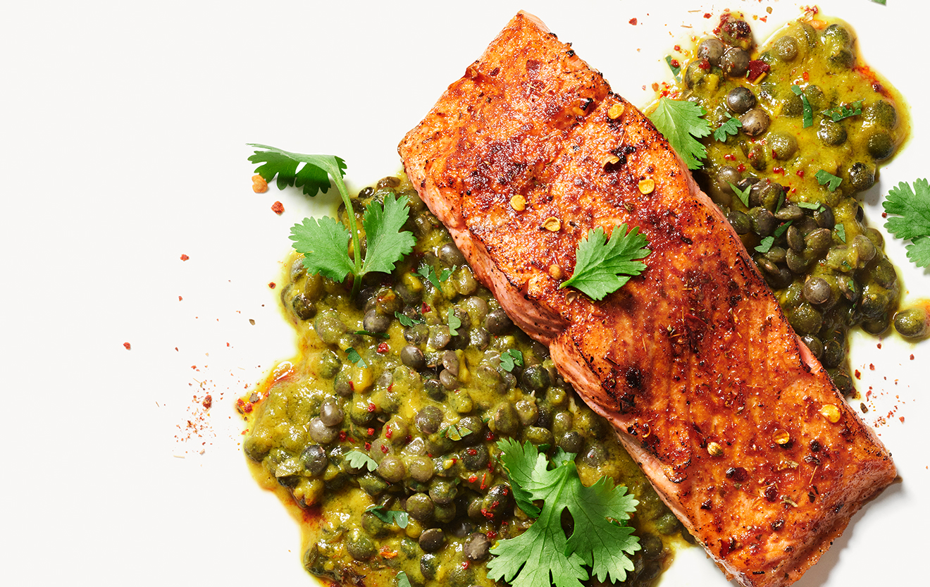 Recipe: Indian-Spiced Salmon with Lentils