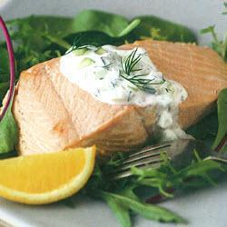 Poached salmon with cucumber and dill sauce