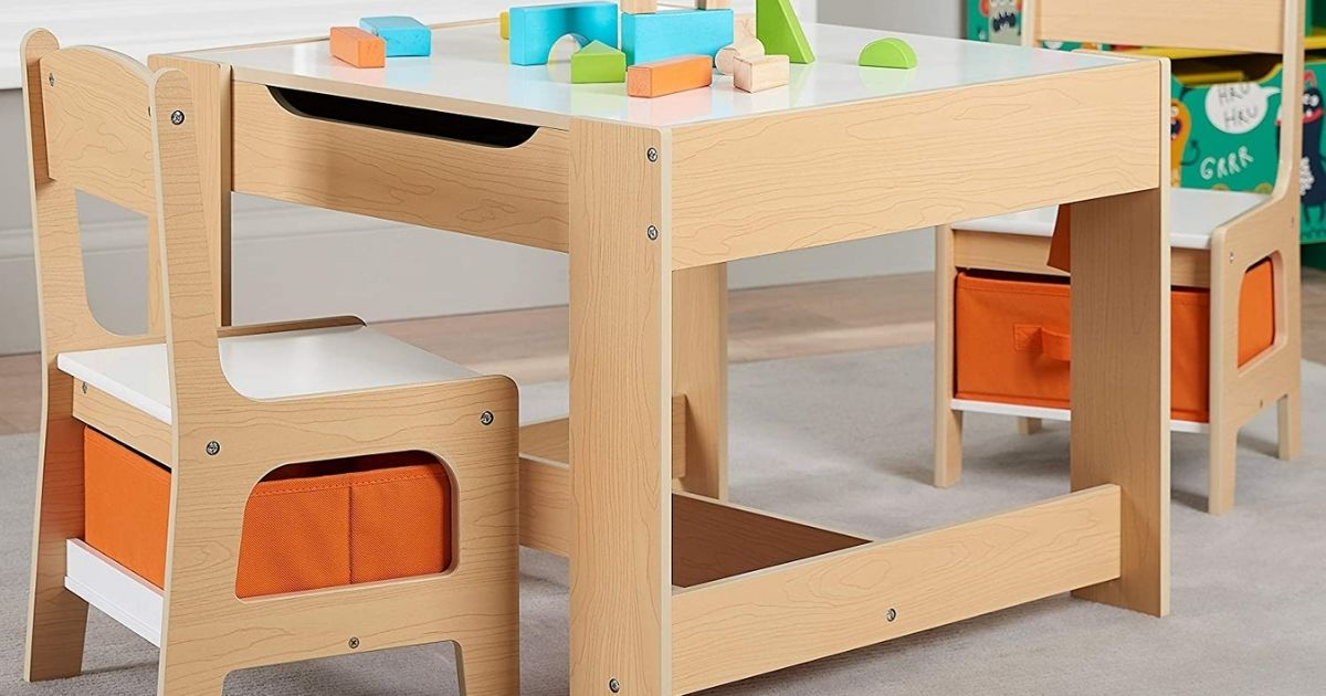 Kids Wooden Storage Table & Chairs Set Only $59.98 Shipped on Walmart.com (Regularly $90)