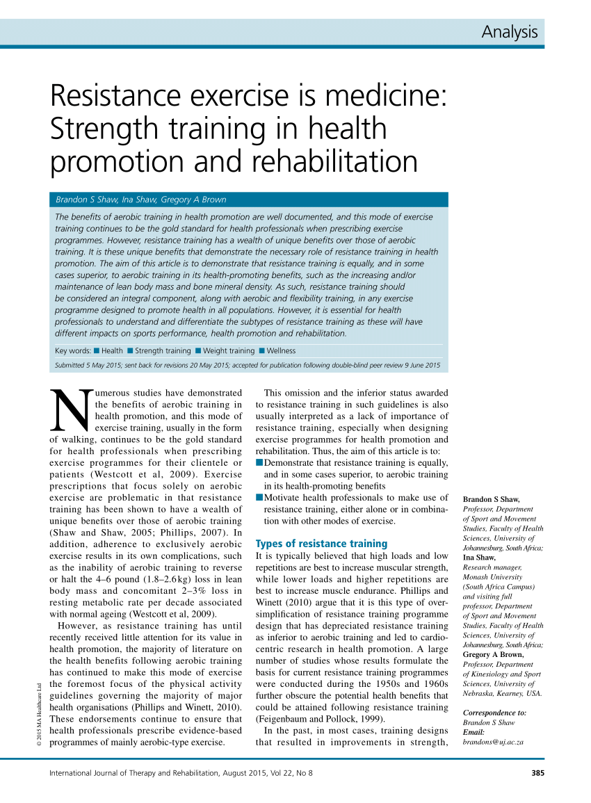 (PDF) Resistance exercise is medicine: Strength training in health promotion and rehabilitation